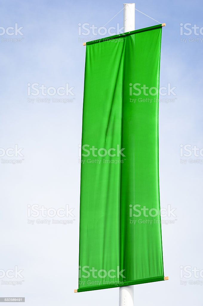 blank green flag stock photo