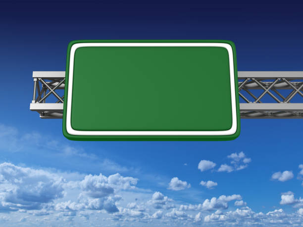 blank green highway sign - road signs stock photos and pictures