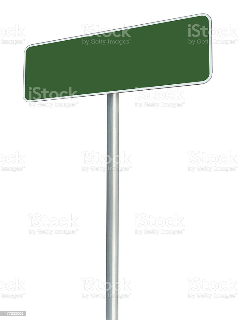 Blank Green Road Sign Isolated, Empty White Frame Roadside Signage stock photo