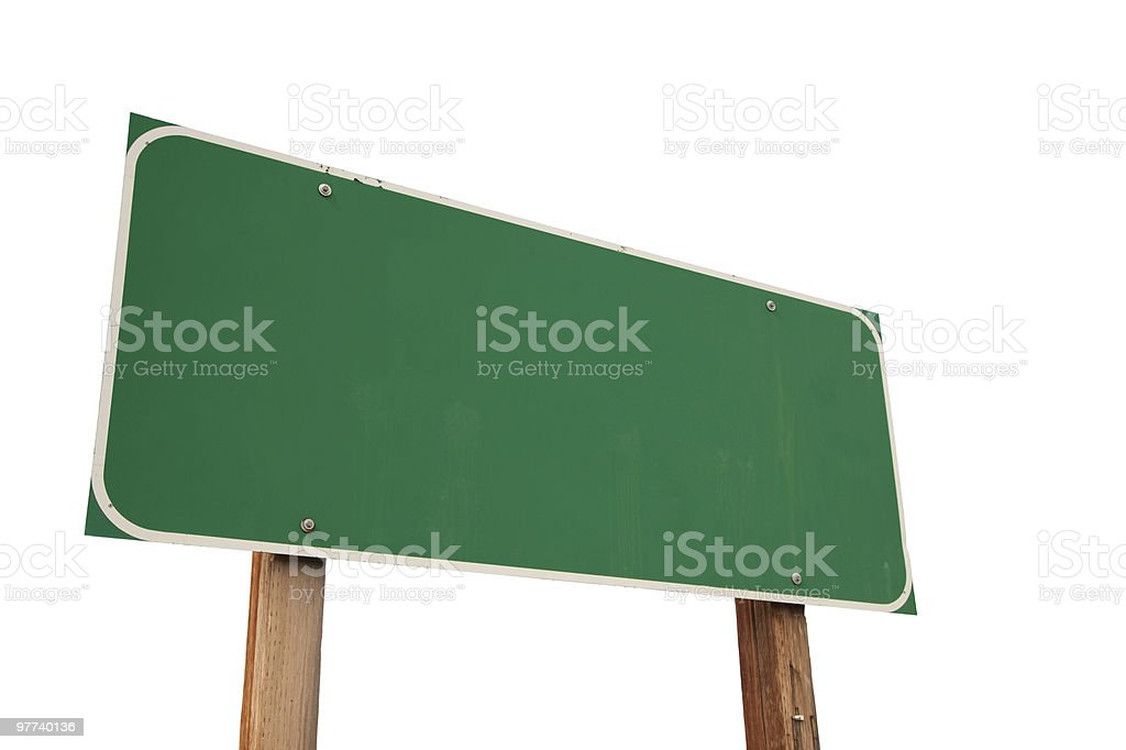 Blank Green Road Sign on White - XXXL Image stock photo