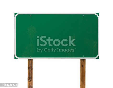 Blank Green Road Sign with Wooden Posts Isolated on a White Background.