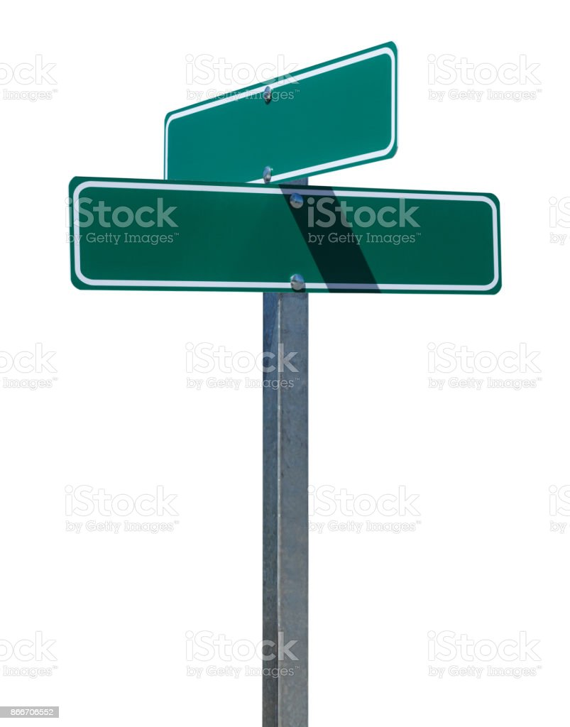 Blank Green Street Sign stock photo