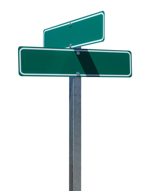 blank green street sign - road signs stock photos and pictures