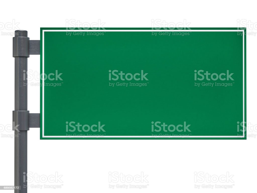 Blank green traffic road sign on white. 3D rendering stock photo