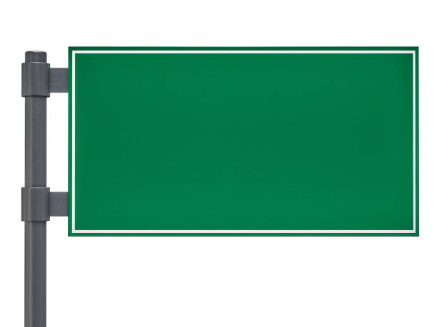 blank green traffic road sign on white. 3d rendering - road signs stock photos and pictures
