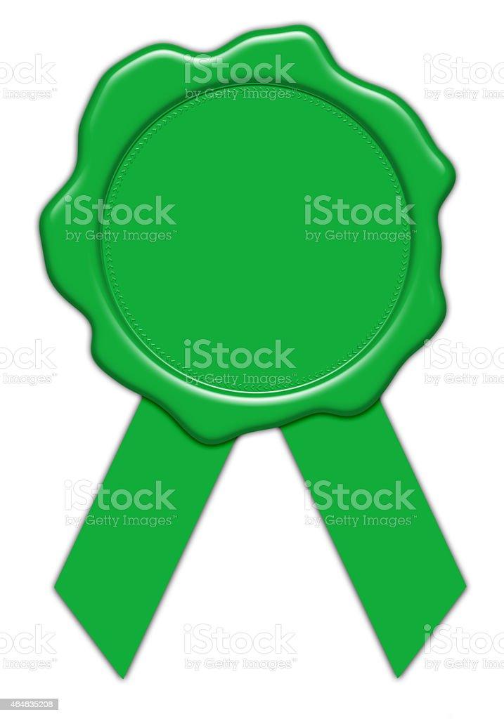 blank green wax seal illustration with ribbon stock photo