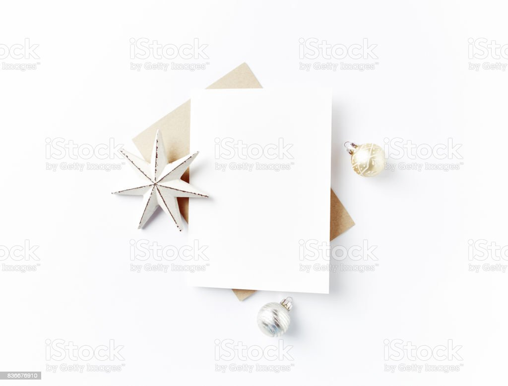 Blank Greeting Card and Christmas Decorations stock photo