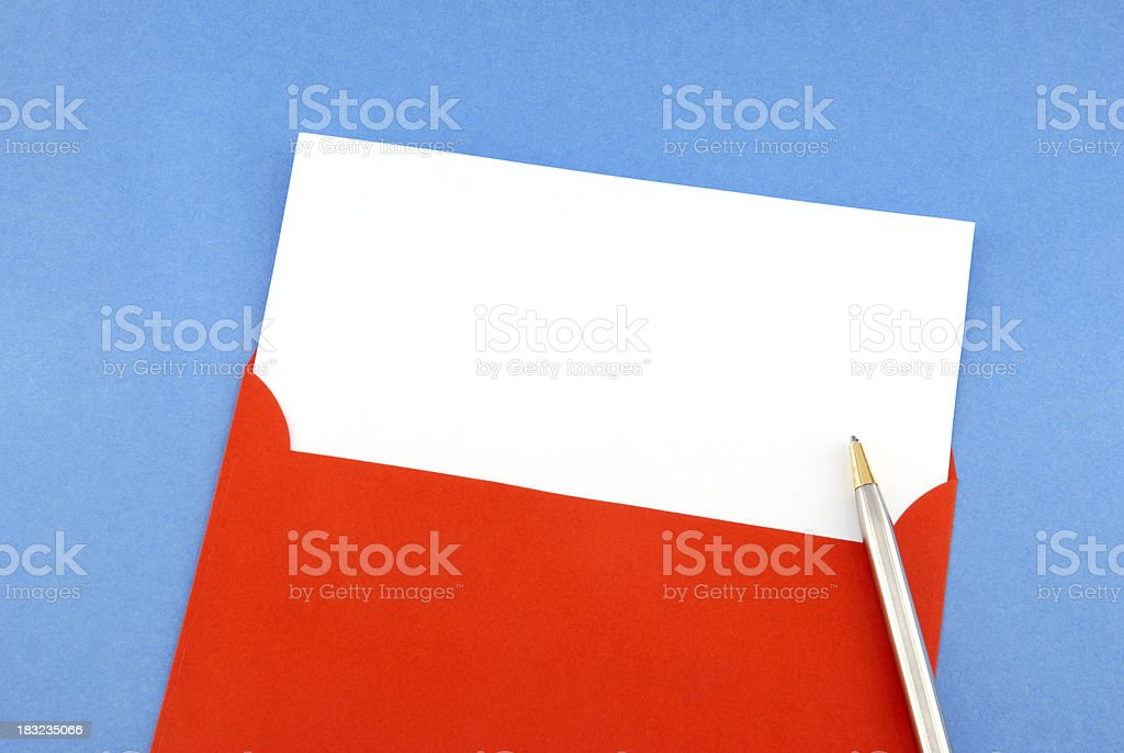 Blank greeting card and pen royalty-free stock photo