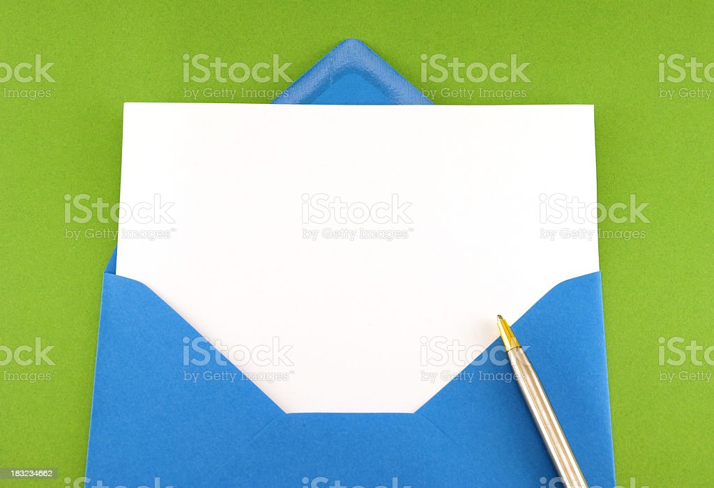 Blank greeting card in blue envelope royalty-free stock photo