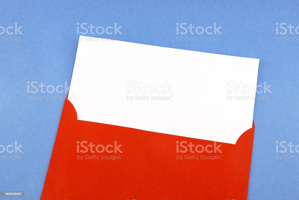 Blank greeting card in envelope stock photo