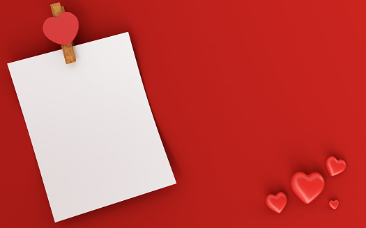 Blank greeting card. The concept of Valentine Day. Copy space for your text