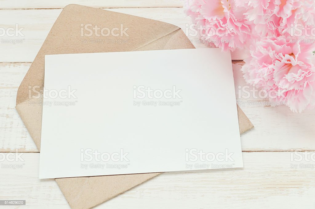 Blank greeting card with envelope stock photo