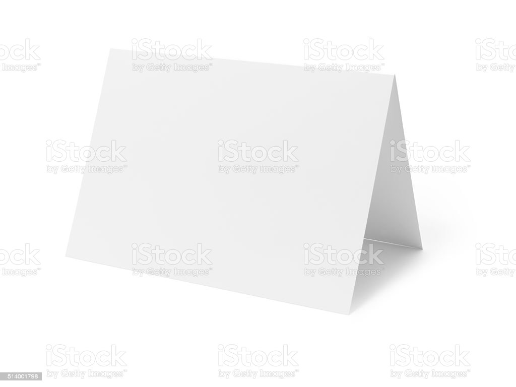Blank greetings card on white - Stock Image stock photo