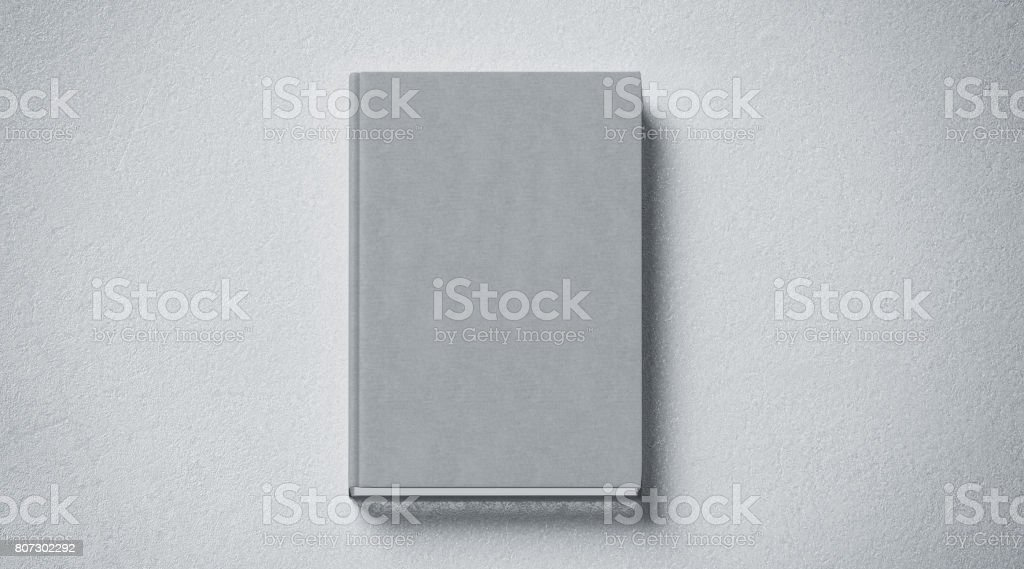 Blank grey tissular hard cover book mock up, front side view stock photo