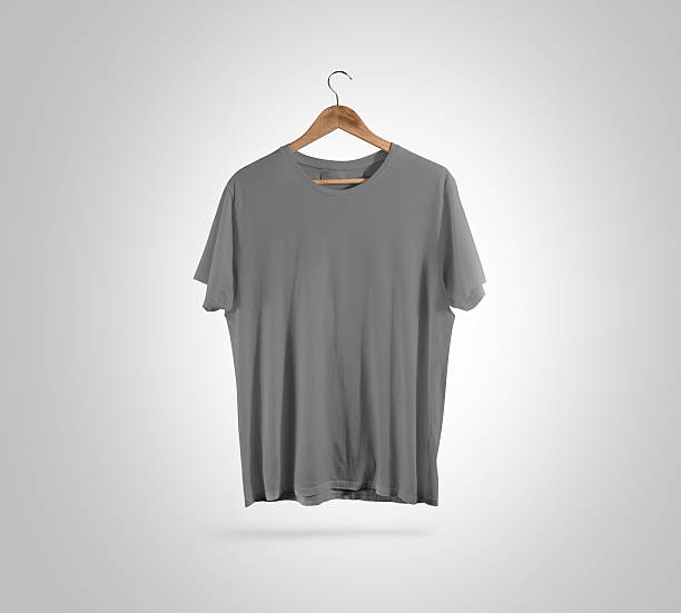 Blank grey t-shirt front hanger, design mockup, clipping path. - foto de stock