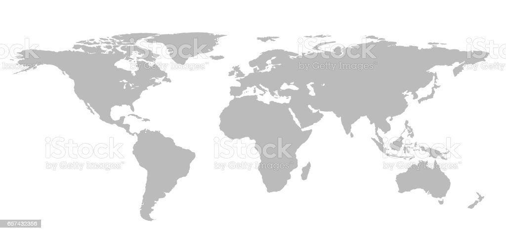 Blank Grey World Map Isolated On White Background Infographics ...