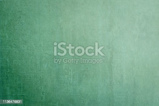 istock Blank grunge green chalkboard background template empty dusty dark chalk blackboard texture backdrop with copy space for ads restaurant menu, school educational message drawing  announcement 1136476831