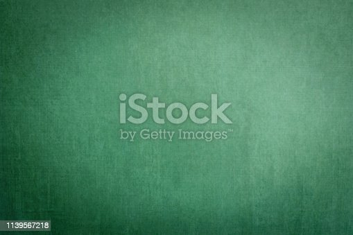 istock Blank grunge green chalkboard background template empty dusty dark chalk blackboard texture backdrop with copy space for ads restaurant menu, school educational message drawing  announcement 1139567218