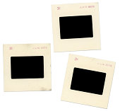 istock Blank Grungy Old Slides on White Background 184120981