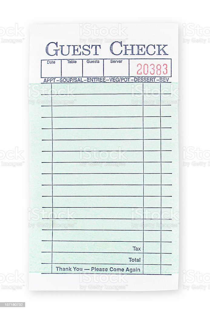 Blank Guest Check (with clipping path) royalty-free stock photo