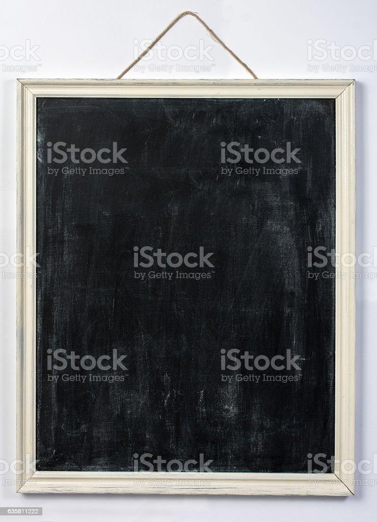 Blank Hanging Chalkboard Isolated on White stock photo
