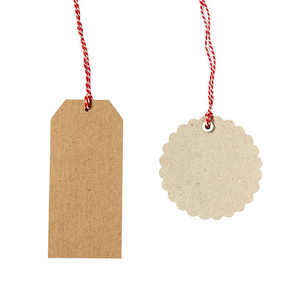 blank hanging gift tag brown eco-friendly kraft paper - label stock pictures, royalty-free photos & images