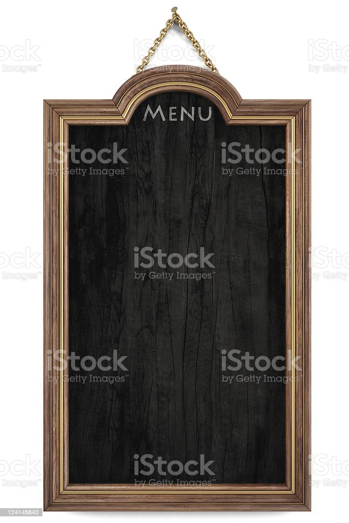 A blank hanging menu chalkboard stock photo