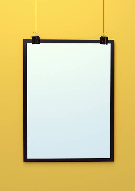blank hanging poster template 3d illustration - klapprahmen stock-fotos und bilder