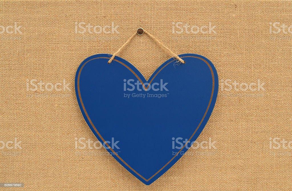 Blank Heart Chalkboard on canvass board stock photo