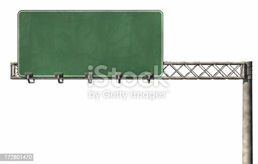 Blank interstate sign with copy space for your message on a white background.I suggest using the Arial font to get the interstate look.This is a detailed 3d rendering.