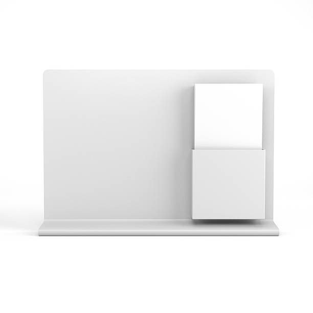 Blank holder with leaflets stock photo