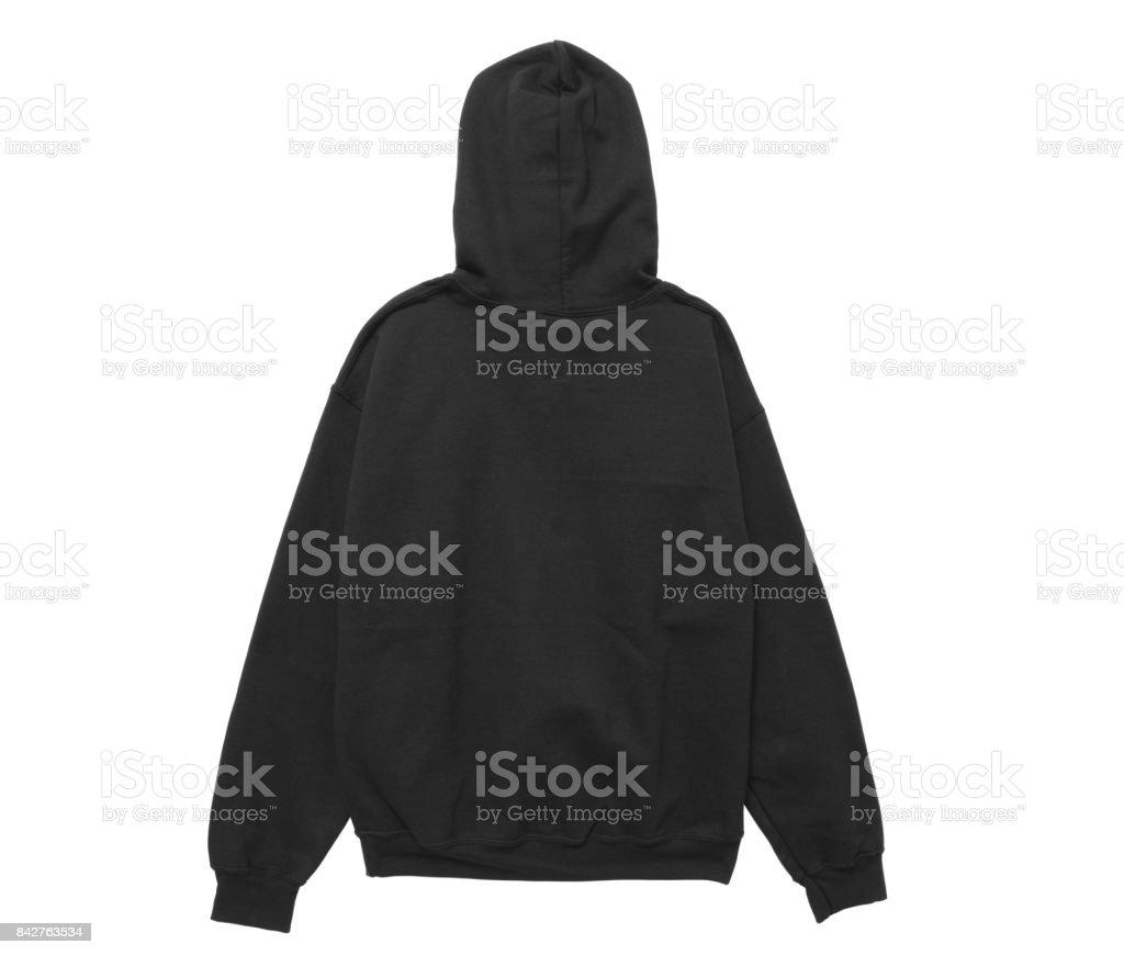 blank hoodie sweatshirt color black back view stock photo