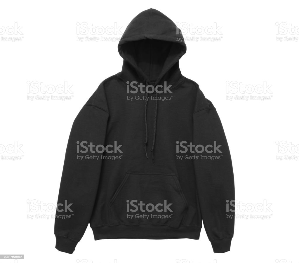 blank hoodie sweatshirt color black front arm view stock photo