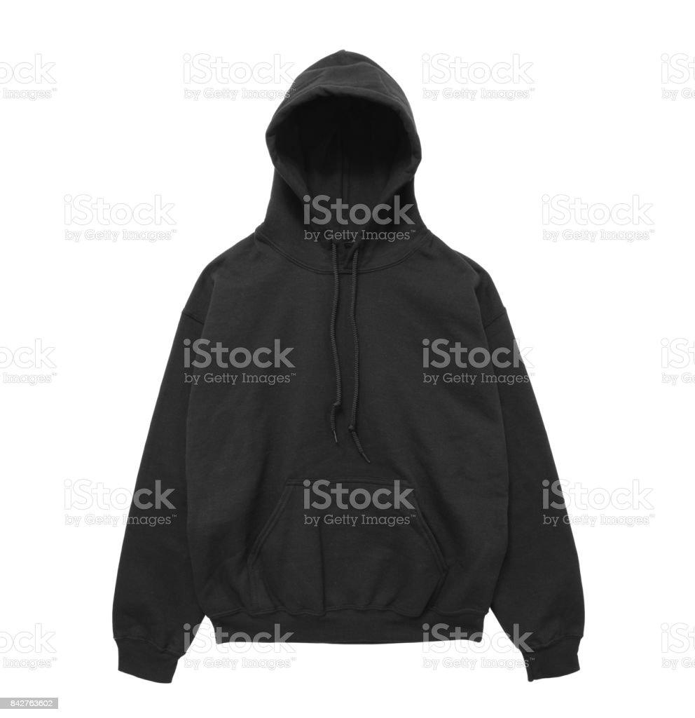 blank hoodie sweatshirt color black front view stock photo
