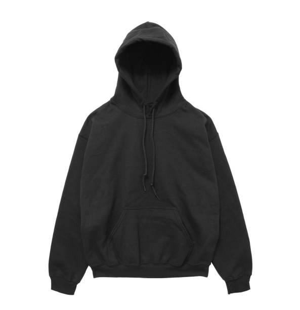 leere hoodie sweatshirt farbe schwarz frontansicht - fleecepullover stock-fotos und bilder