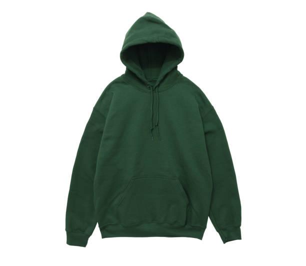 blank hoodie sweatshirt color green front view stock photo