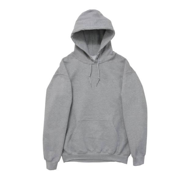 leere hoodie sweatshirt grau vordere querlenker farbansicht - fleecepullover stock-fotos und bilder