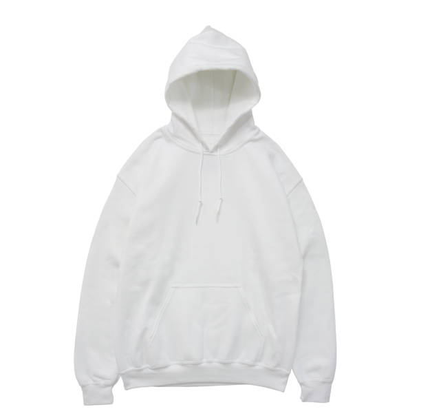 blank hoodie sweatshirt color white front view stock photo
