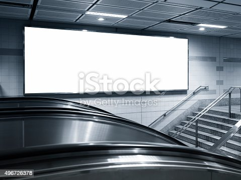 istock Blank Horizontal big Banner Billboard in subway station 496726378