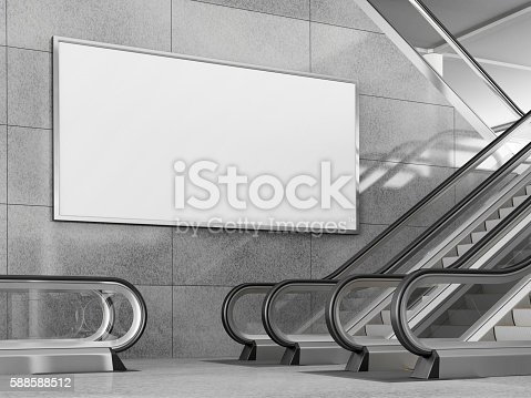 istock Blank horizontal billboard in public place. 3D rendering. 588588512