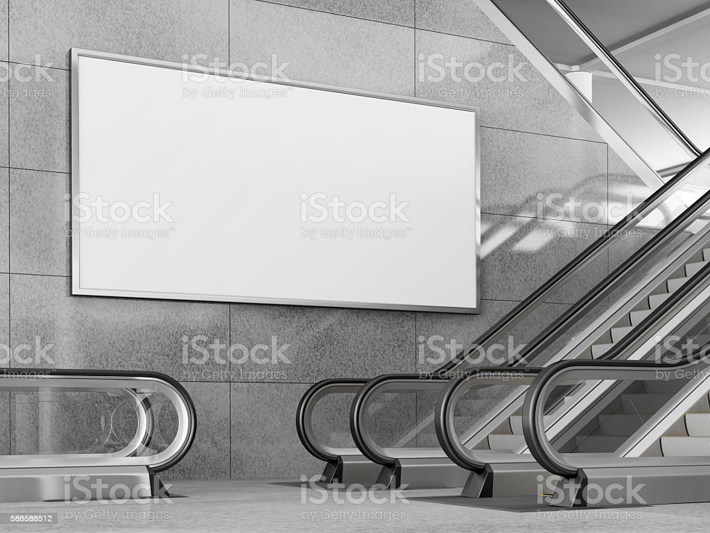 Blank horizontal billboard in public place. 3D rendering. stock photo