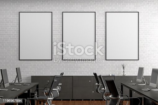 istock Blank horizontal poster mock up on the wall in office interior 1196967594