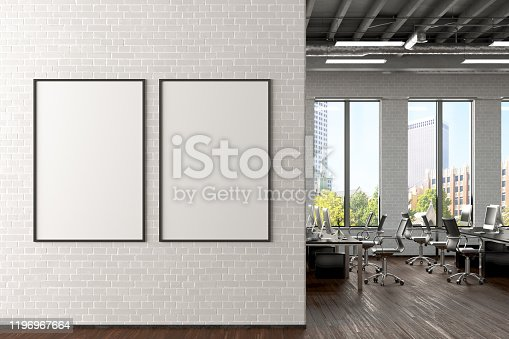 istock Blank horizontal poster mock up on the wall in office interior 1196967664