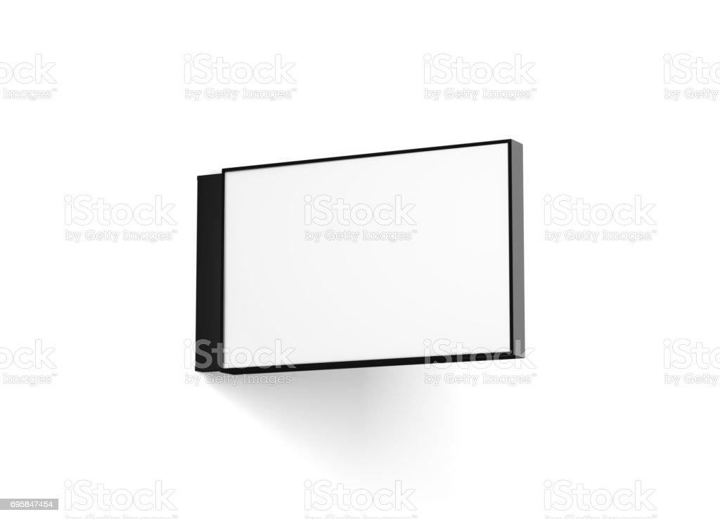 Blank horizontal store signage design mockup isolated stock photo