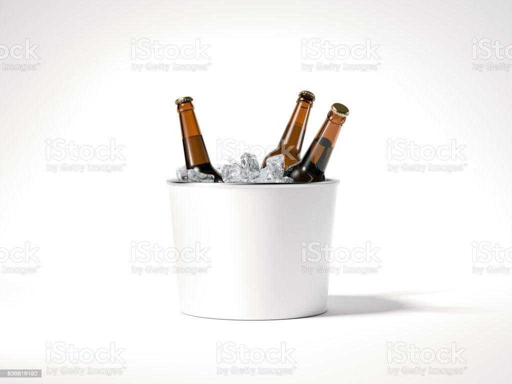 Blank ice bucket with beer bottles. 3d rendering stock photo