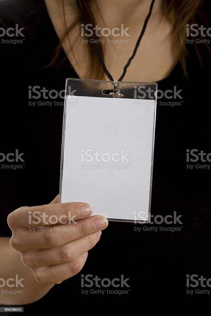 blank ID badge card stock photo