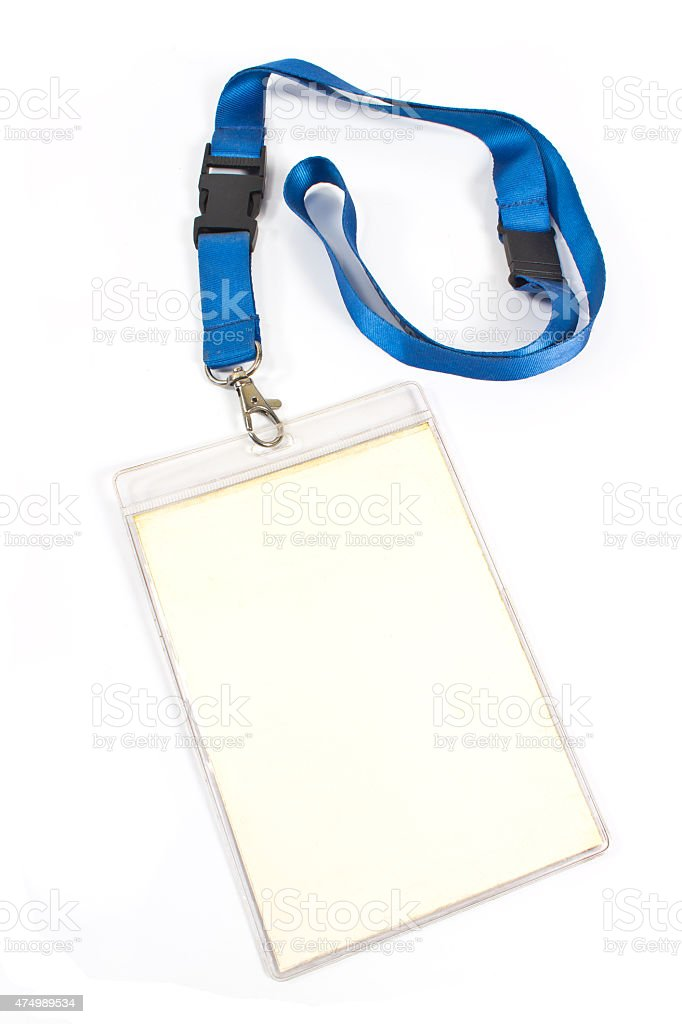 Blank ID card tag isolated on white stock photo