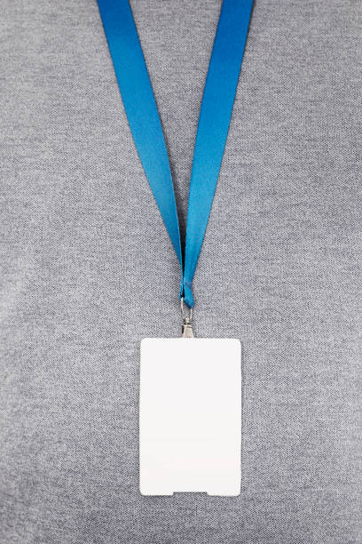 Blank identity badge Denim,White, Lanyard, ID Card, Identity security pass stock pictures, royalty-free photos & images