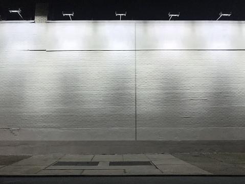 Detail of a blank illuminated wall
