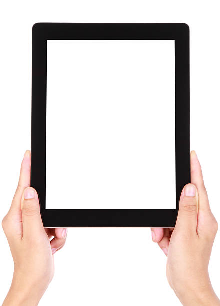 blank image of two hands holding a large tablet device - vertical stock pictures, royalty-free photos & images